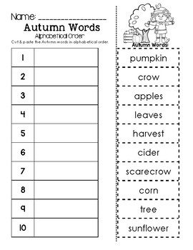 Autumn Words ABC Order