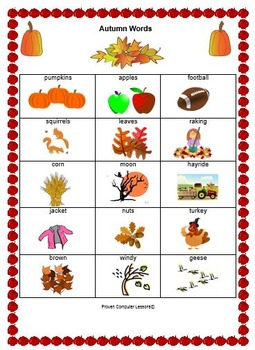 Autumn Words Vocabulary