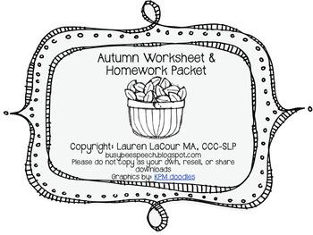 Autumn Worksheet & HW Pack {{BUNDLE}}