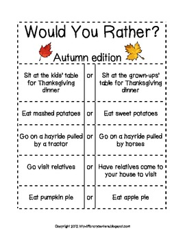 Autumn Would You Rather Cards