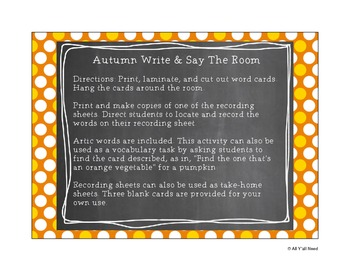 Autumn Write and Say the Room