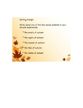 Autumn Writing Prompt- The Five Senses