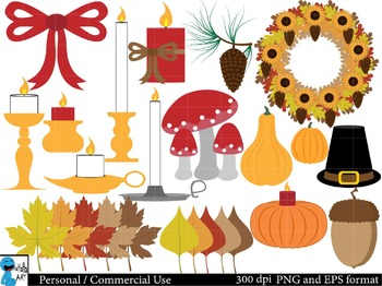 Autumn and Fall Decorations Digital Clip Art Graphics 49 images cod32