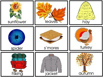 Autumn and Fall Picture Word Flashcards, Word Cards, and Activities