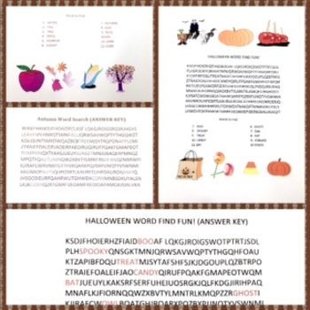 Autumn and Halloween Word Search Puzzles