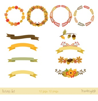 Autumn and Thanksgiving floral wreaths clipart , Fall bouquets , Fall foliage