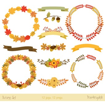 Autumn and Thanksgiving floral wreaths clipart , Fall bouq