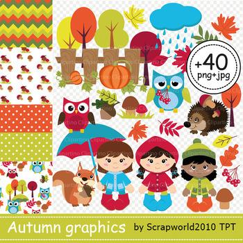 Autumn animal and kid clipart
