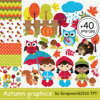 Autumn animal and kid clipart