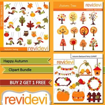 Autumn clip art / Fall clipart bundle / tree, birds, kids (3 packs)