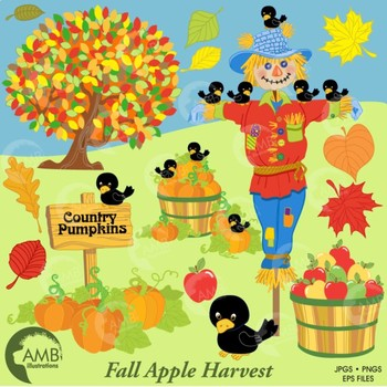 Clipart Autumn clip art, Harvest, Scarecrow clipart, Fall clipart, AMB-147
