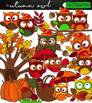 Fall owles clipart autumn clipart +black white