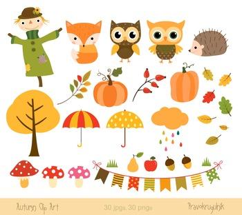 Autumn clipart set, Fall clipart, Harvest, Scarecrow, Fox, Hedgehog, Pumpkin