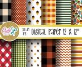 Autumn digital papers, Picnic pattern, polka, chevron