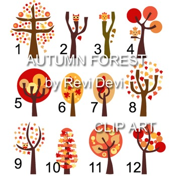 Autumn forest clip art (teacher resource) trees