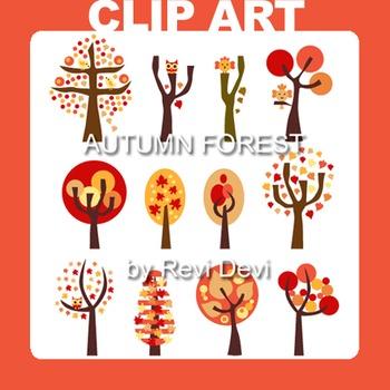Autumn forest clip art (teacher resource) trees