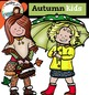 Autumn kids clip art -Color and B&W-