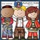 Autumn kids clip art-Color and B&W