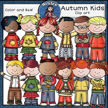 Autumn kids clip art-Color and B&W