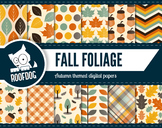 Autumn leaf themed digital papers   fall leaf patterns