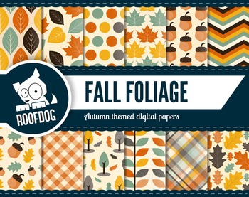 Autumn leaf themed digital papers | fall leaf patterns