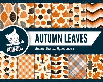 Autumn leaf themed digital papers | fall patterns in orange and brown