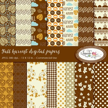 Fall harvest digital papers
