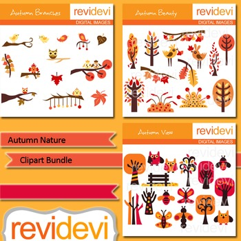 Autumn nature clip art bundle (3 packs) fall graphics