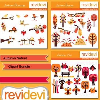 Autumn nature clip art bundle (3 packs) fall graphics
