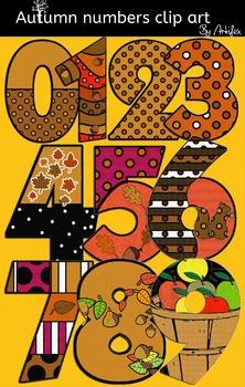 Autumn numbers clip art