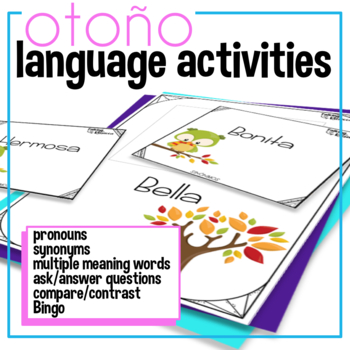 Autumn or Fall Expressive Language Activities in Spanish