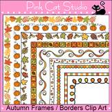 Autumn or Fall Clip Art Page Borders: leaves, pumpkins, polka dots, checkerboard