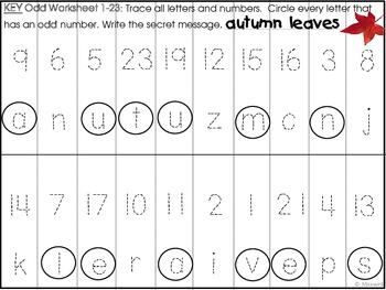 Autumn or Fall Number Letter Puzzle Secret Messages
