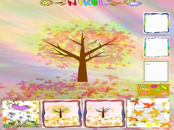 Fall - pictures, frames, writing paper - Clip Art