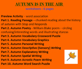 Autumn (six worksheets - 10 Activities) Reading, Writing, Vocab., Poetry, etc.
