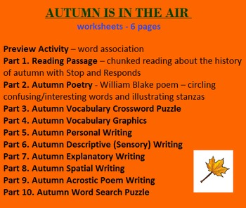 Autumn (six worksheets - 10 Activities) Reading, Writing,
