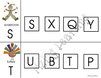 Autumn theme: letter recognition and matching