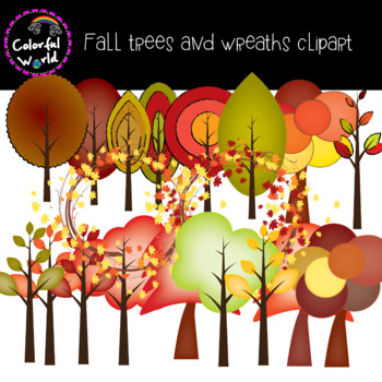 Fall trees and wreaths clipart