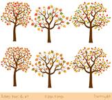 Autumn trees clip art, Fall trees clipart, Maple tree, Oak tree