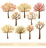 Autumn trees clipart, Fall trees clip art, Seasonal trees