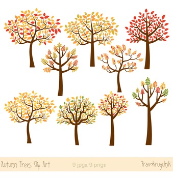 Autumn trees clipart, Fall trees clip art, Seasonal trees