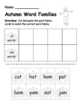 Fall word family sorts/ CVC words