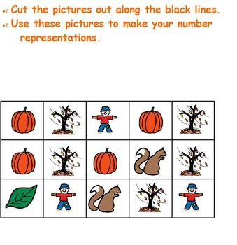 Fall number representation; cut & paste sets; Boardmaker special ed