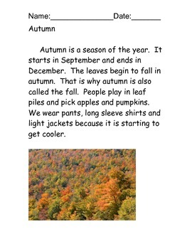 Autumn/Fall reading comprehension