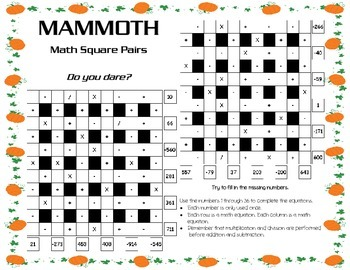 Thanksgiving/Autumn Theme 6x6 Advanced Math Square Pair (Blackline&color)