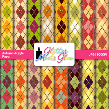 Autumn Argyle Paper {Fall Scrapbook Backgrounds for Task Cards & Brag Tags}