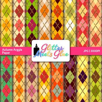 Autumn Argyle Scrapbook Paper: Fall Backgrounds {Glitter Meets Glue}
