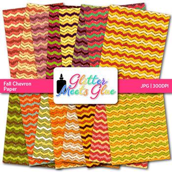 Autumn Chevron Scrapbook Paper Backgrounds {Glitter Meets Glue}