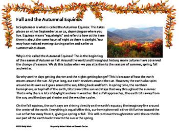 Autumnal Equinox Close Read