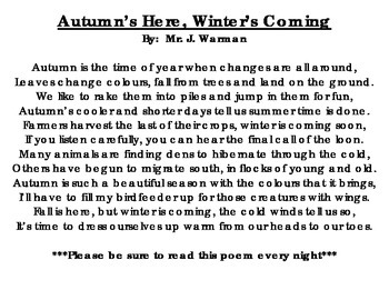 Autumn's Here, Winter's Coming Poem